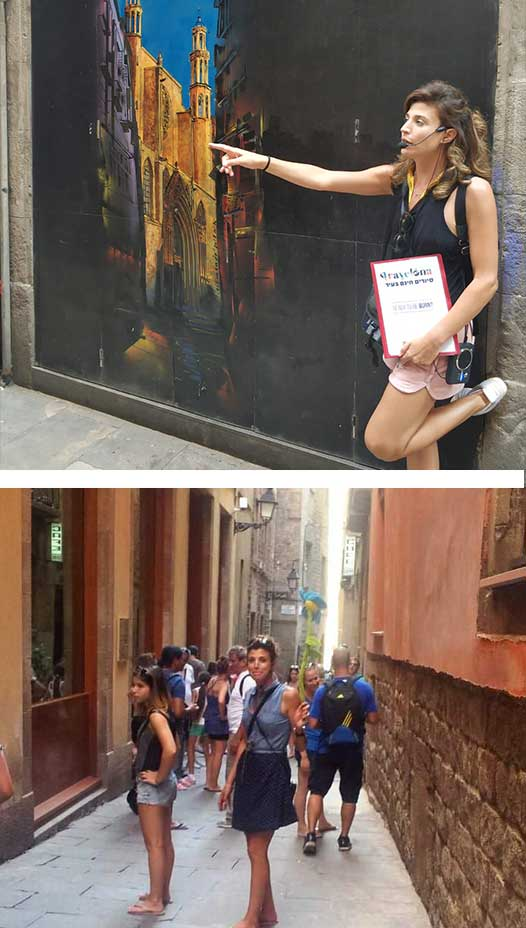 רנתה ביסמוט מדריכה סיורים חינם בברצלונה, רנתה מדריכה עם מדונה, רנתה בתוך סימטה בברצלונה באמצע סיור חינמי בברצלונה